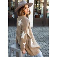 Blank NYC Star Print Tan Cardigan Size Medium NWT