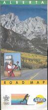 1987 ALBERTA Official Highway Road Map Olympic Torch Calgary Edmonton Lethbridge