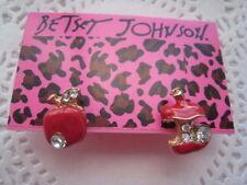 Betsey Johnson $3.59 Apple  Earrings & Free Gift fast shipping USA