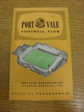 09/03/1963 Port Vale v Carlisle United  (Light Crease, Light Foxing). Thanks for
