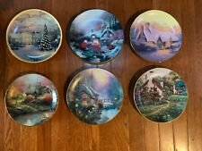 Lot of 6 Collector Plates Thomas Kinkade, F.M., Winter Spring Cottage Flowers