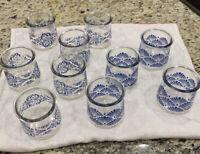 Vintage set of 10 Single Service USA blue Damask serving cups glasses Juice