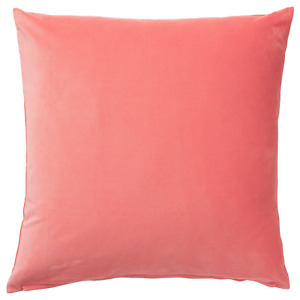 "Ikea SANELA Pillow Cushion Cover 26"" x 26"" Velvet Cotton Light Brown-Red (Coral)"
