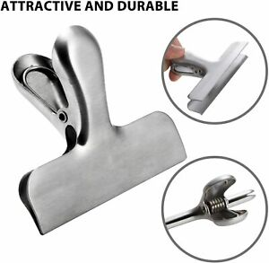 Stainless Steel Sealing Clip Folder Food Storage Chip Bag Clips 4 Pack