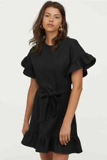 H&M Black Ruffle Frill Sleeve Short Dress Size M BNWT Blogger Favourite