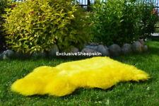 Yellow Dyed Genuine Sheepskin Lambskin Sheep Skin Rug Pelt Soft Wool Throw