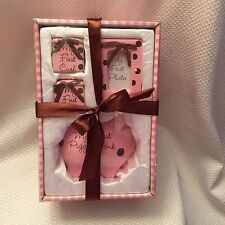 burton+BURTON- Baby Steps NEW Pink Brown Polka Piggy Bank First Tooth Curl Photo