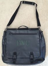 "Black Faux Leather Messenger Bag with Initals ""IWU"" in Green"