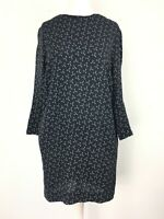 Other Stories Shift Dress Navy Blue Anchor Print Long Sleeve Pockets US4 UK8