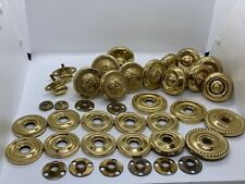 Large Lot of Vintage Solid Brass Ornate Door Knobs with Misc. Hardware