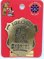 Disney Magic Kingdom Fireman & Mickey Mouse Fire Chief Badge /Pin For GABRIEL