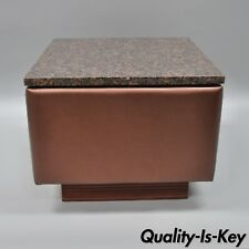 Modern Marble Top Upholstered Square Side Table by Showtime Exhibit Builders