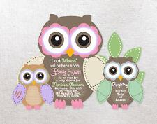 Birthday or Baby Shower Invitations Owl Personalized Custom Girl Boy Invites