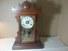 Antique Gingerbread Clock With Golden Embossed Horse And Coach In Glass Door Wor