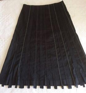 INK SKIRT 12 Black A-line Grosgrain ribbon Great work Skirt  Capsule Wardrobe