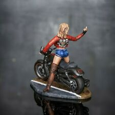 Motorcycle Girl Painted Sculpture Miniature Figures Lady Toy Soldiers Scale 1 32