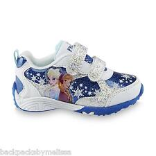 Disney FROZEN Girl's size 7 SPARKLY Shoes NEW White/Blue Sneakers ELSA