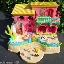 Mini Polly Pocket Landhaus 12 Figuren Bauernhof Hacienda Schwein Katze Hund,Hase