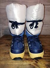 TECNICA Sz 5/6 Vtg Snow Moon Boots Excellent Condition Lace Up Blue and Gray