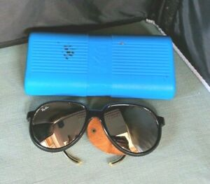 Vintage Ray-Ban Black Sporty Sunglasses Shades w/Blinders Made in France