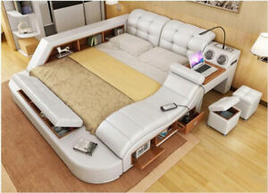 Bed Multifunction - Massage Lounger - USB - Sound Double Beds Black Immediate