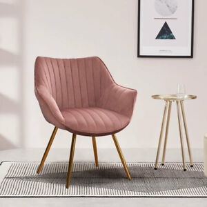 2x Blush Velvet Dressing Table Chair Vanity Stool Bedroom Makeup Chair Metal Leg