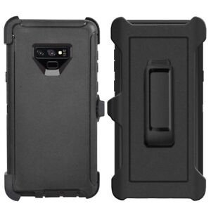 For Samsung Galaxy Note 9 Case Cover (Belt Clip Fits Otterbox Defender) BLACK