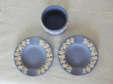 Pair Vintage Wedgwood Jasperware Ashtray Pin Tray & Small Cup Vase Blue & White