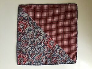 TM LEWIN WINE/GREY WOOL POCKET SQUARE SUPERB CONDITION