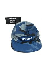 Supreme Reflective Blue Camo Camp Cap Hat DS New in hand FW18