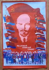 HUGE SOVIET RUSSIAN VINTAGE POSTER LENIN SOCIALIST REPUBLICS NATIONAL FLAGS USSR