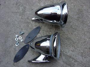 UK Manufactured Chrome Bullet Fender Door Mirrors Jaguar E Type
