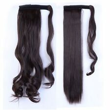 UK Real Thick Clip In As Human Hair Extensions Pony Tail Wrap On Ponytail Long