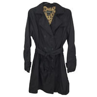 Women's Large Eddie Bauer Black Lightweight Double Breasted Button Trench Coat