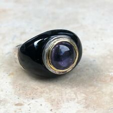 Black Onyx & Amethyst 18KT Yellow Gold & Silver Ring