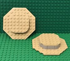 Lego X2 Tan MOC Mini Raised Round Center Octagonal Plate  Base / Platforms Stand