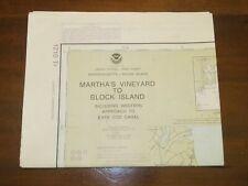 Martha's Vineyard to Block Island NAUTICAL MAP Woods Hole Newport FREE SHIPPING