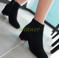 Ladies Faux Suede Velvet Ankle Boots Block Mid Heel Pointed Toe Shoes UK Sz new