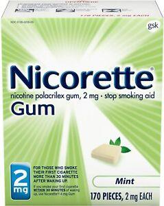 Nicorette 2mg Mint Gum with Nicotine 170 Pieces Stop Smoking Program NEW 2022