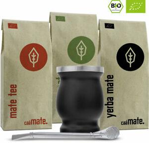 Mate Tee Set Bio ● 3 Matesorten + doppelwandiger Edelstahl Matebecher + Bombilla