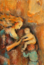 RELIGIOUS PORTRAIT OIL PAINTING EXPRESSIONISM MOTHER CHILD