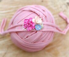 Skin Pink Soft Cotton Jersey Stretchy Wrap Headband Set Baby Newborn Photo Prop