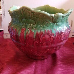 Vintage Large Green & Rose Weller Majolica Jardiniere Planter Flower Pot