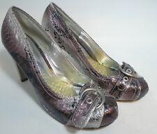 Womens BKE Size 7.5 M Copper Silver Bling High Heels Pumps Faux Snakeskin shoes