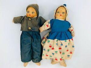 Vintage Cloth Stockinette Handmade Dolls Lot of 2