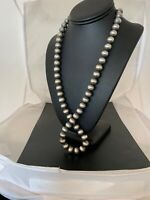 """Native American Navajo Pearls 12 mm Sterling Silver Bead Necklace 24"""" Sale 2838"""
