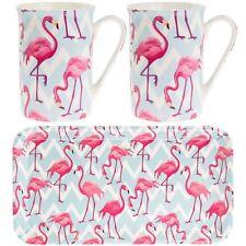 Pink Flamingo Bay 2 Mug Set, 2 Coasters And Sandwich Serving Tray Boxed