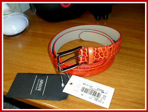 50% OFF Armani Collezioni Italy Red Croc Embossed Leather Belt Size 110cm /38 US