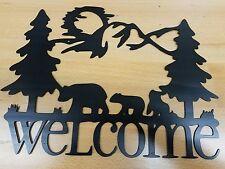 Bear welcome sign metal wall art plasma cut home decor gift idea