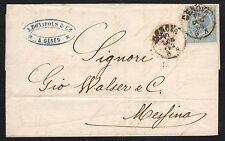STORIA POSTALE Regno 1864 Piego 15c da Genova per Messina (FB1)